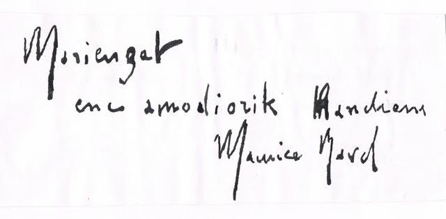 Dédicace manuscrite en basque de Ravel à son amie Marie Gaudin