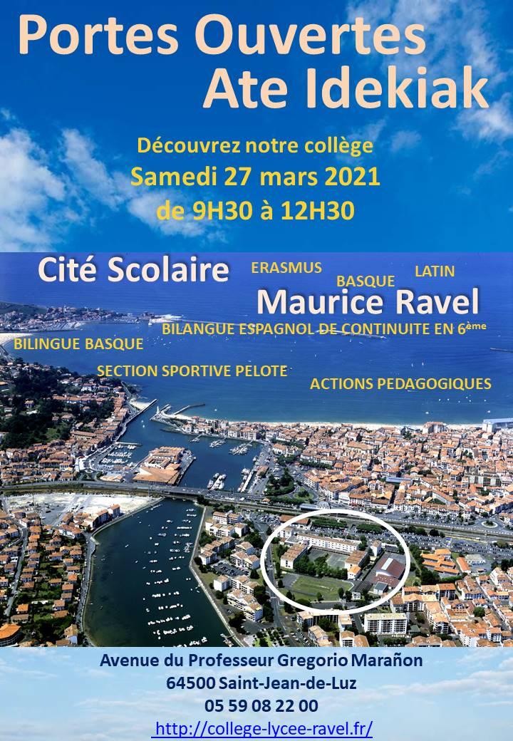 Samedi 27 mars à 9H30 Portes ouvertes du collège Maurice Ravel